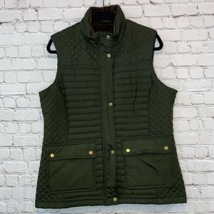 Weatherproof Hunter Green Vest with Gold Accents